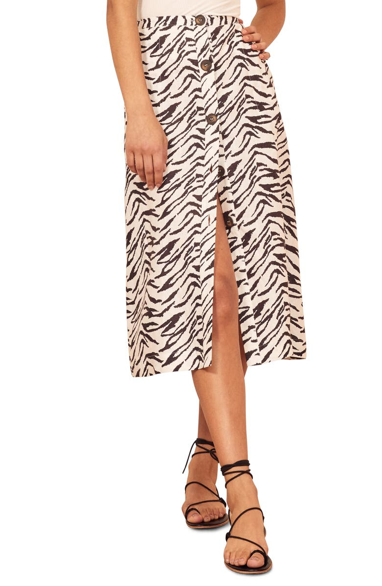 REFORMATION Highland Button Front Midi Skirt, Main, color, JAYNE
