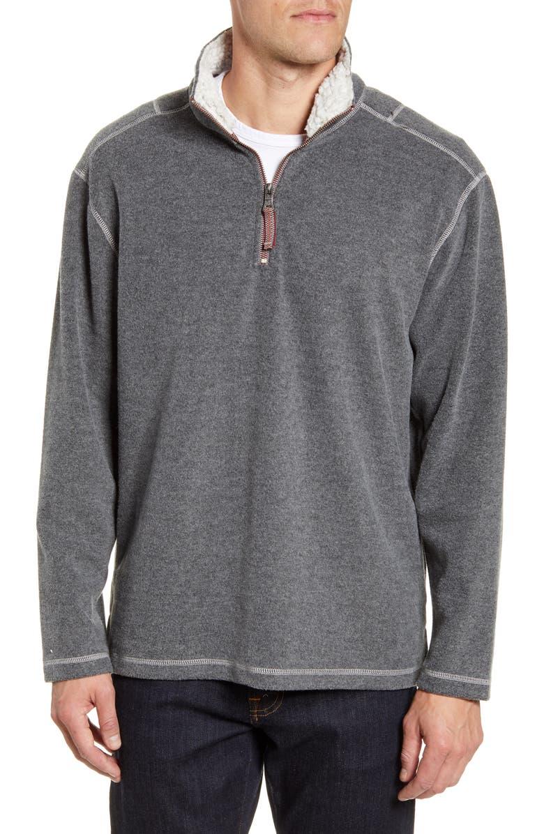 TRUE GRIT Mélange Quarter Zip Fleece Pullover, Main, color, GREY