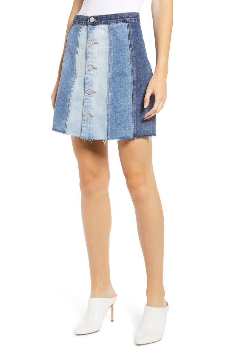 BLANKNYC Gradient Denim Miniskirt, Main, color, 400