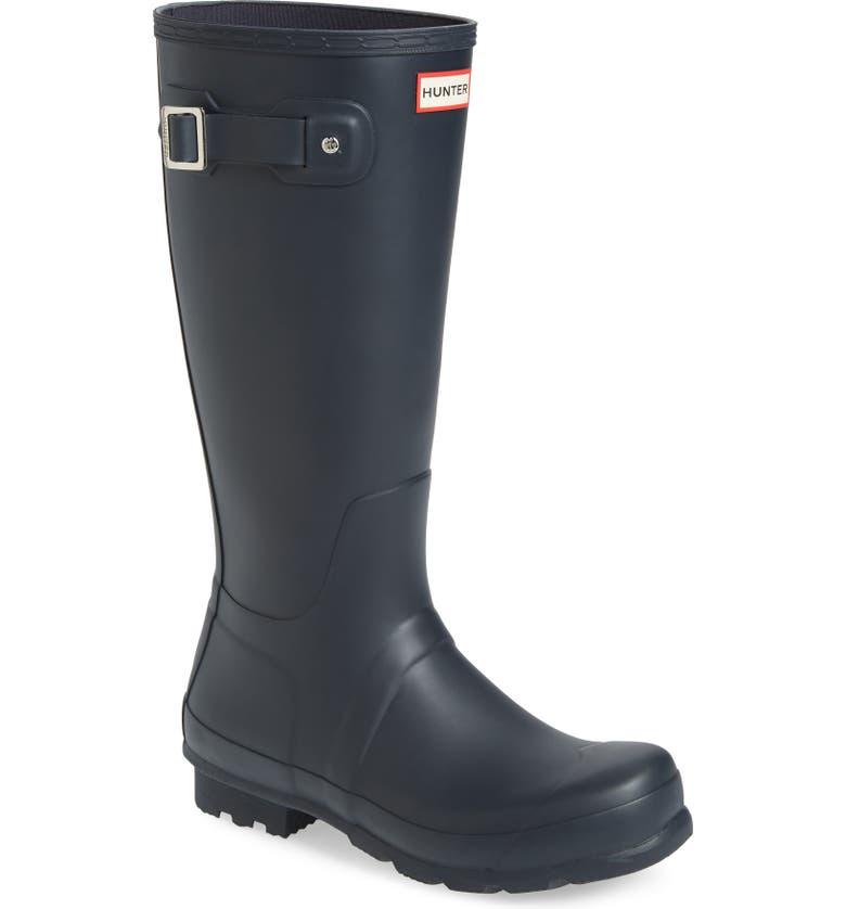HUNTER 'Original Tall' Rain Boot, Main, color, NAVY