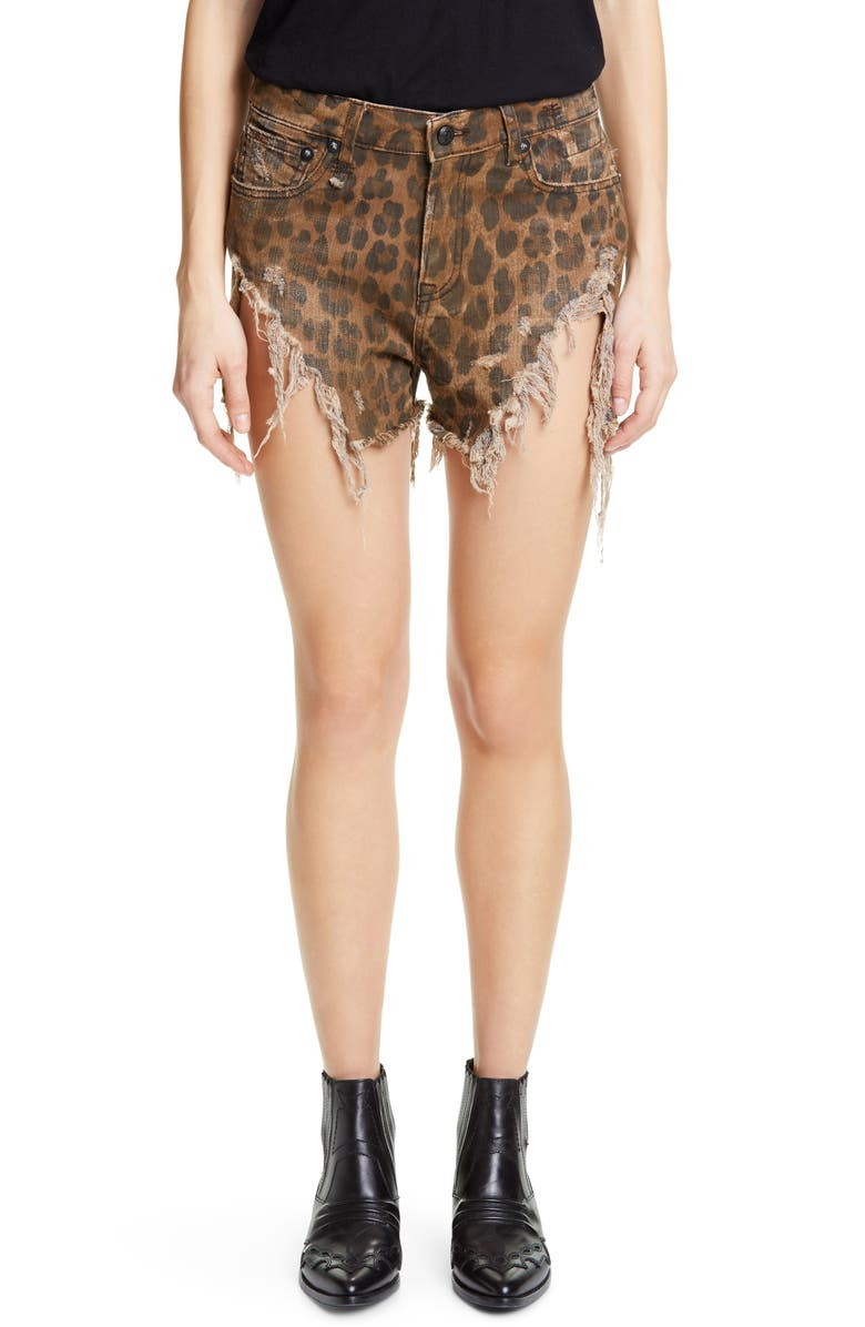 R13 Leopard Print Shredded Slouch Denim Shorts, Main, color, LEOPARD