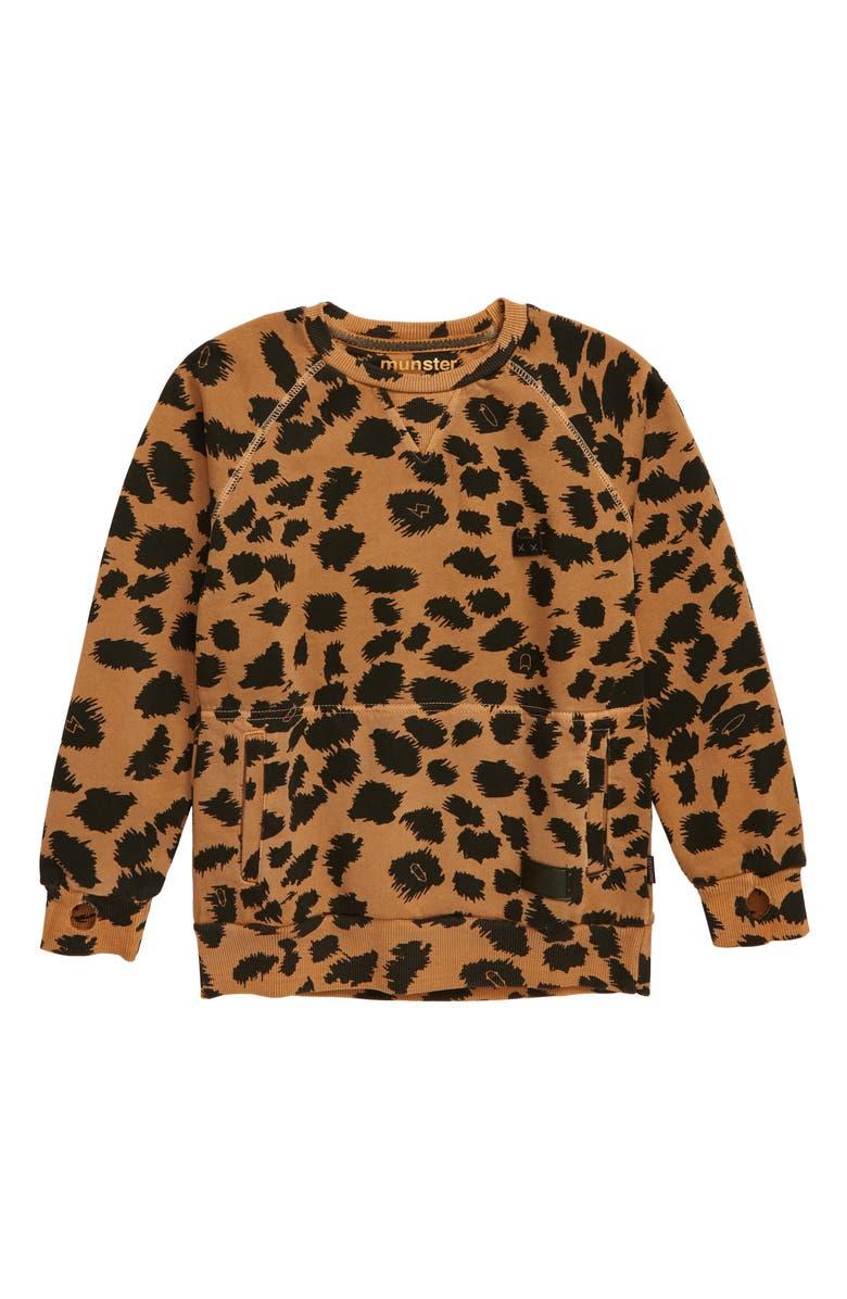 MUNSTERKIDS Frosty Fleece Print Sweatshirt, Main, color, WASHED MUSTARD