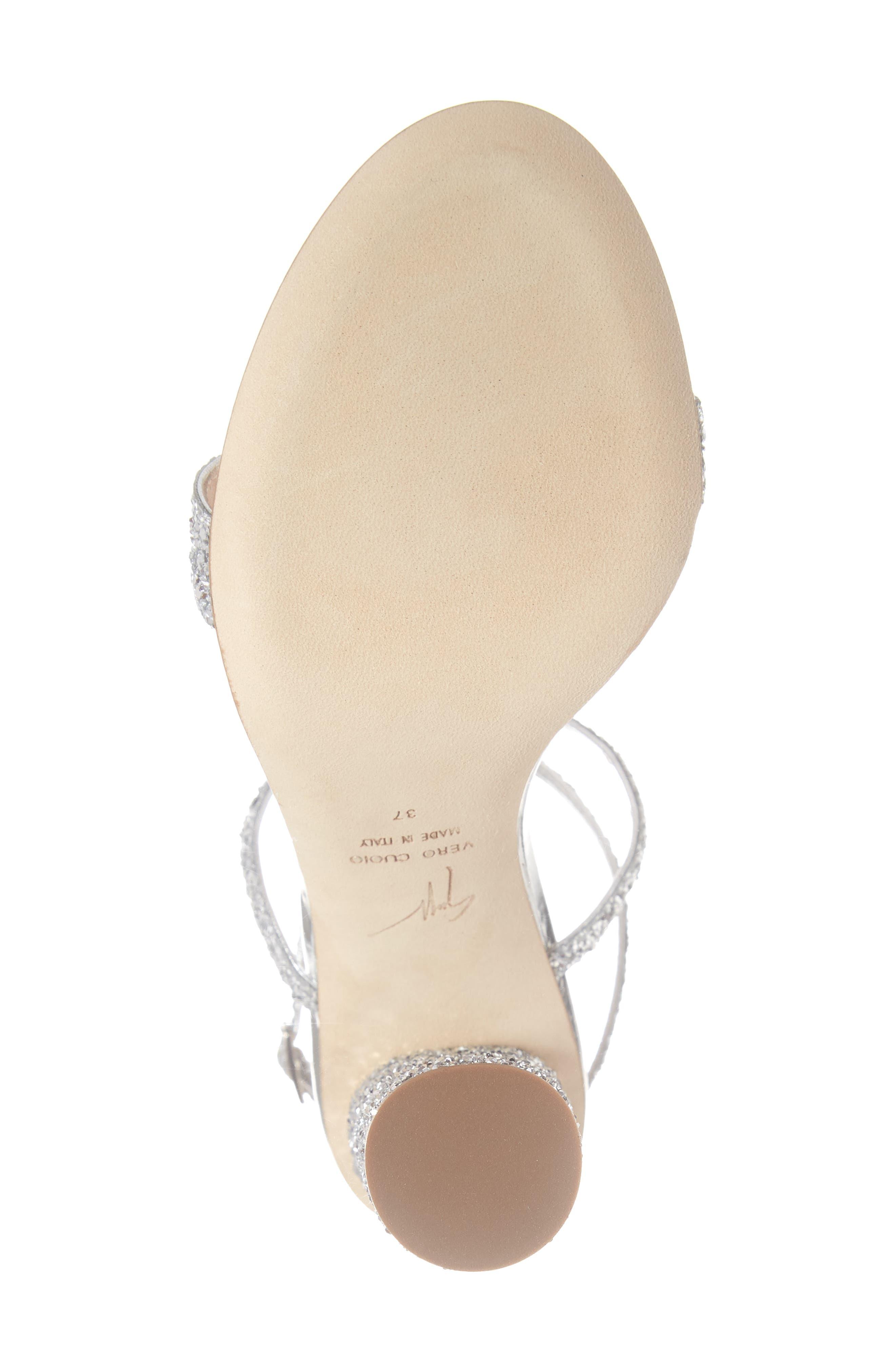 ,                             Glitter Heel Sandal,                             Alternate thumbnail 6, color,                             SILVER