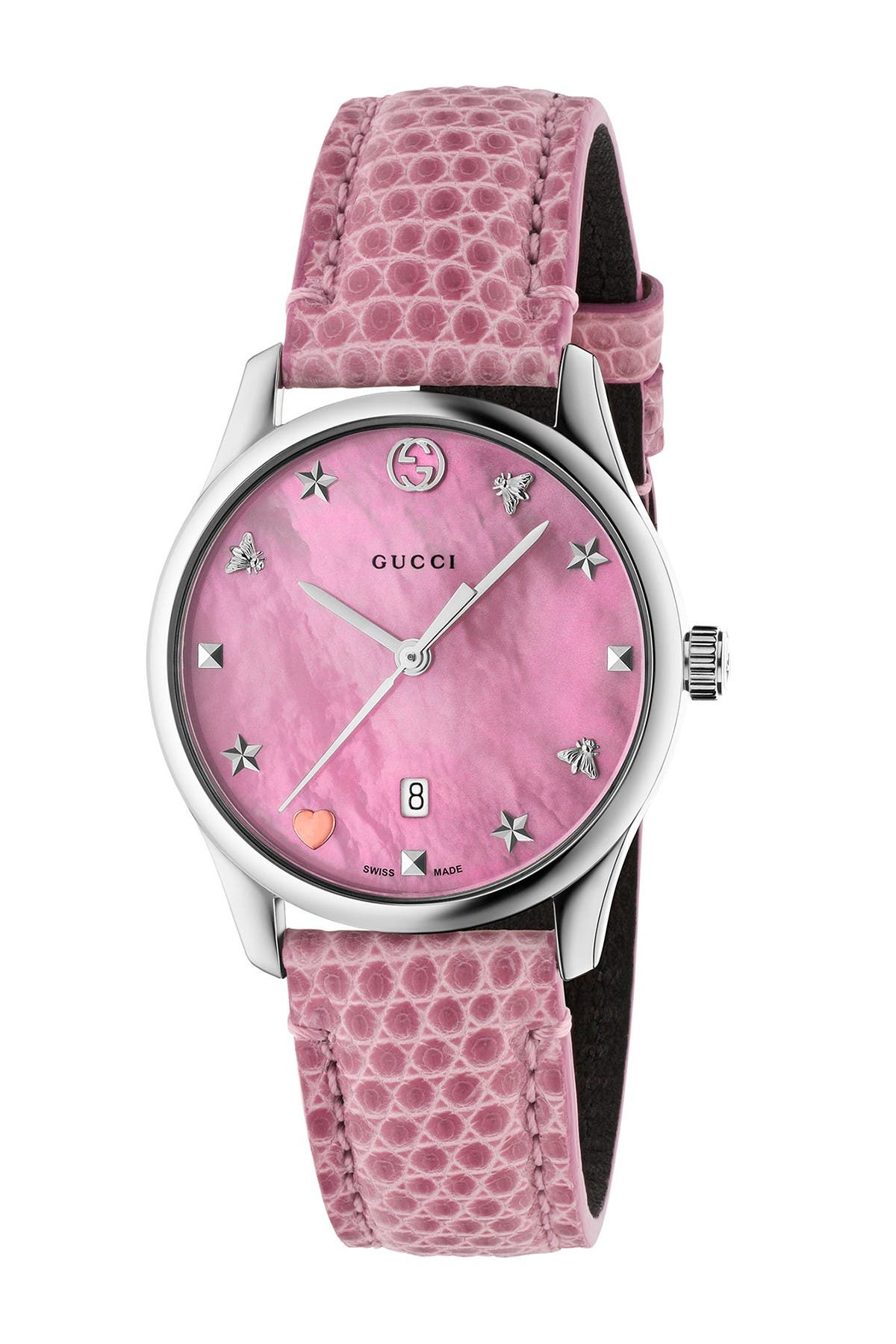 Image of GUCCI Women's 126SM29 Mother of Pearl Lizard Leather Strap Watch, 29mm