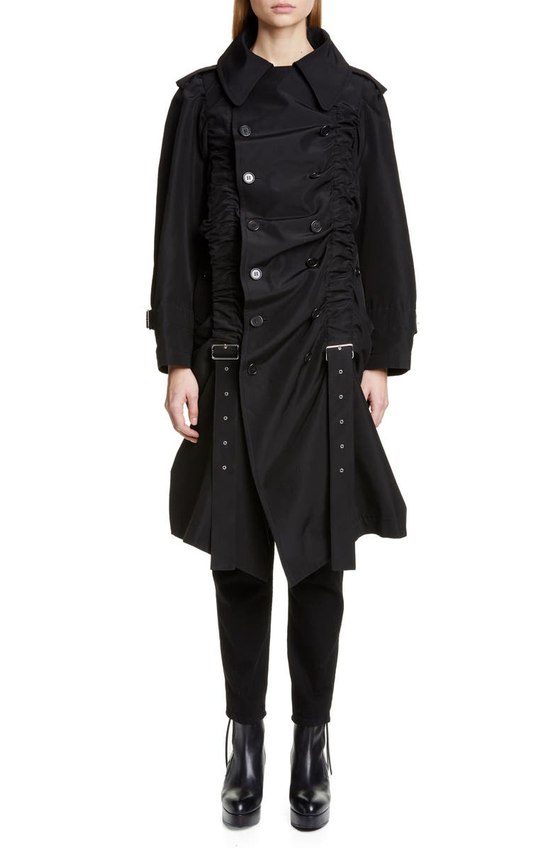 NOIR KEI NINOMIYA Belt Ruched Double Breasted Cotton & Silk Coat, Main, color, 001