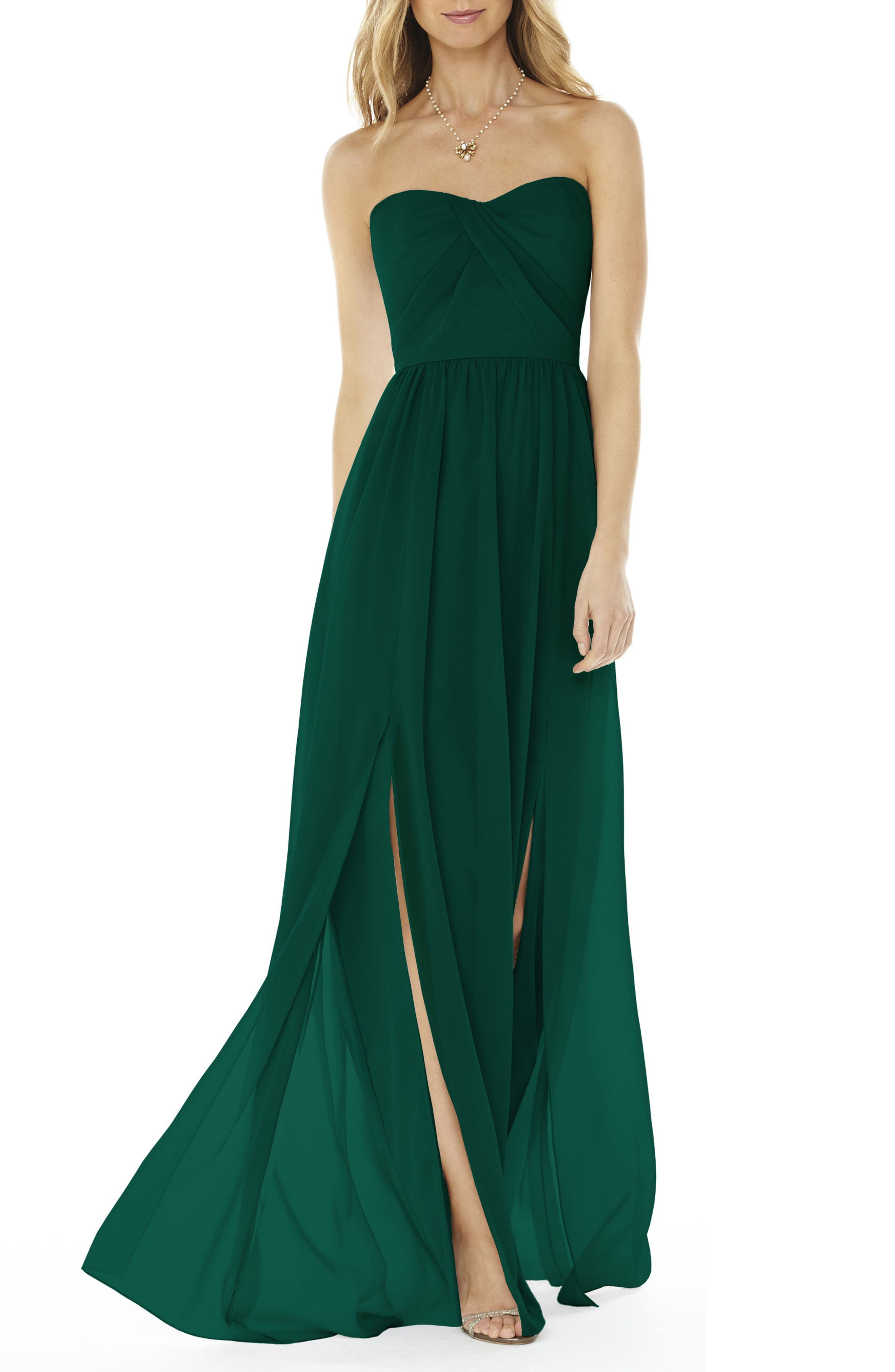 Social Bridesmaids Strapless Georgette Gown, Green