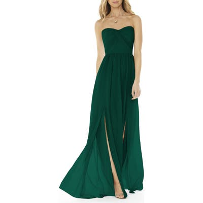 Social Bridesmaids Strapless Georgette Gown, 8 (similar to 1) - Green