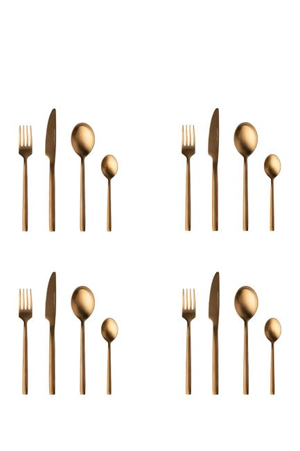 Image of BergHOFF Gem 16-Piece Gold Plated Flatware Set