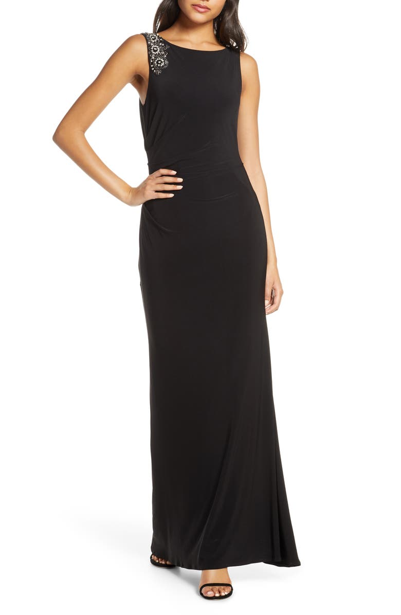 VINCE CAMUTO Embellished Boat Neck Evening Gown, Main, color, BLACK