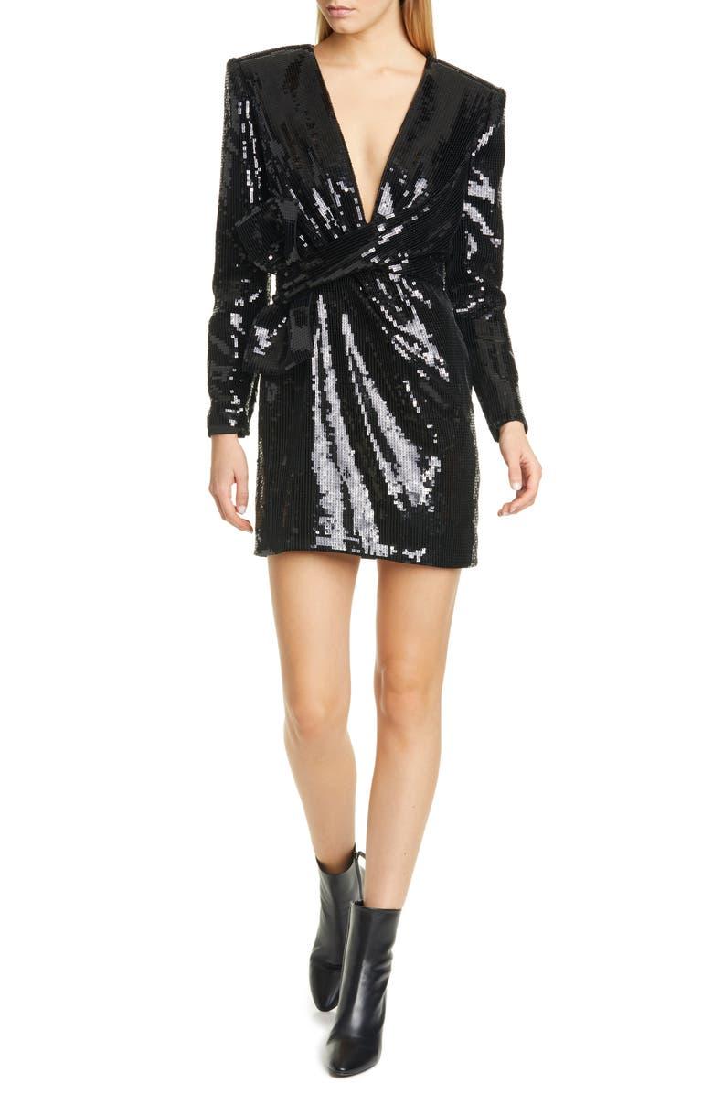 SAINT LAURENT Bow Waist Sequin Long Sleeve Dress, Main, color, NOIR