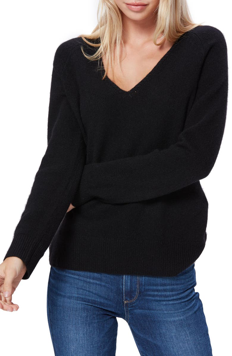 PAIGE Adalyn V-Neck Cashmere Sweater, Main, color, BLACK