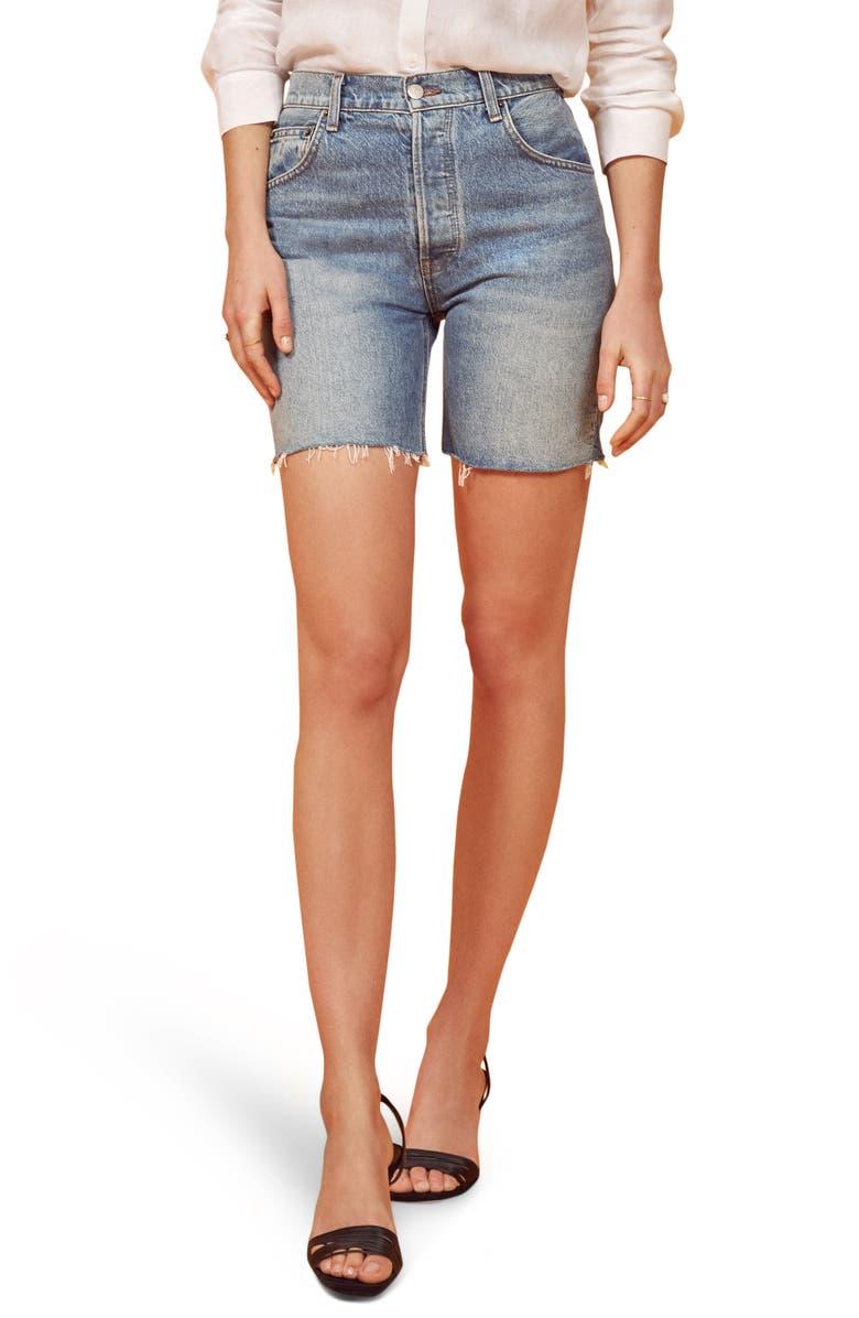 REFORMATION Allie Cutoff Denim Shorts, Main, color, SHASTA