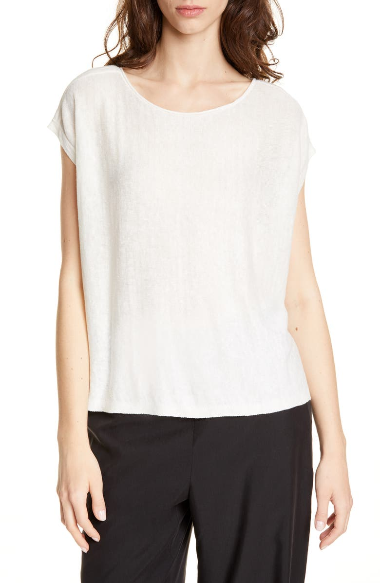 EILEEN FISHER Organic Linen Boxy Top, Main, color, SOFT WHITE
