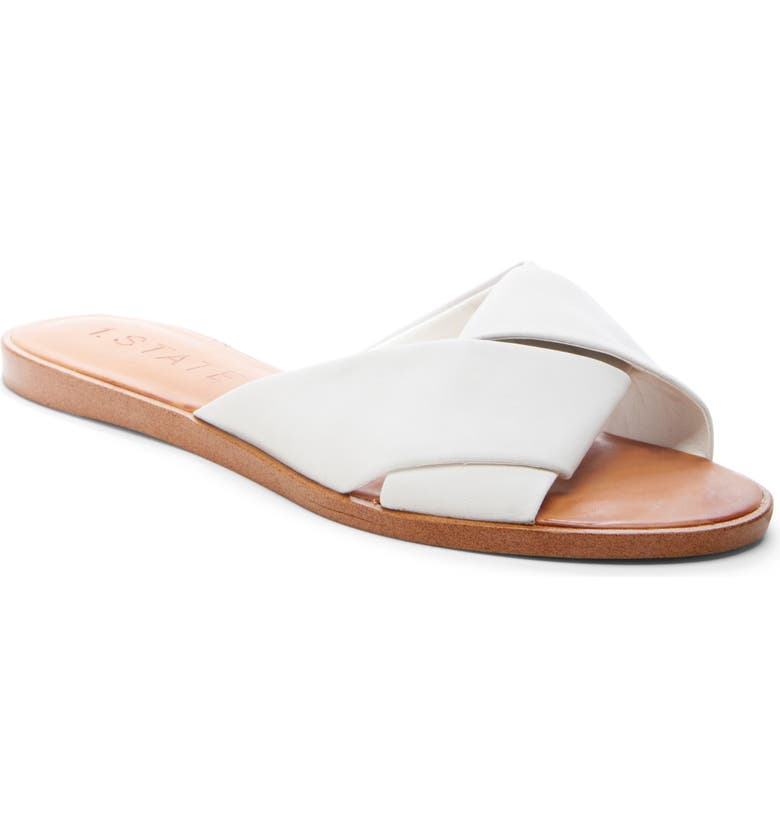 1.STATE Travor Slide Sandal, Main, color, WHITE NUBUCK