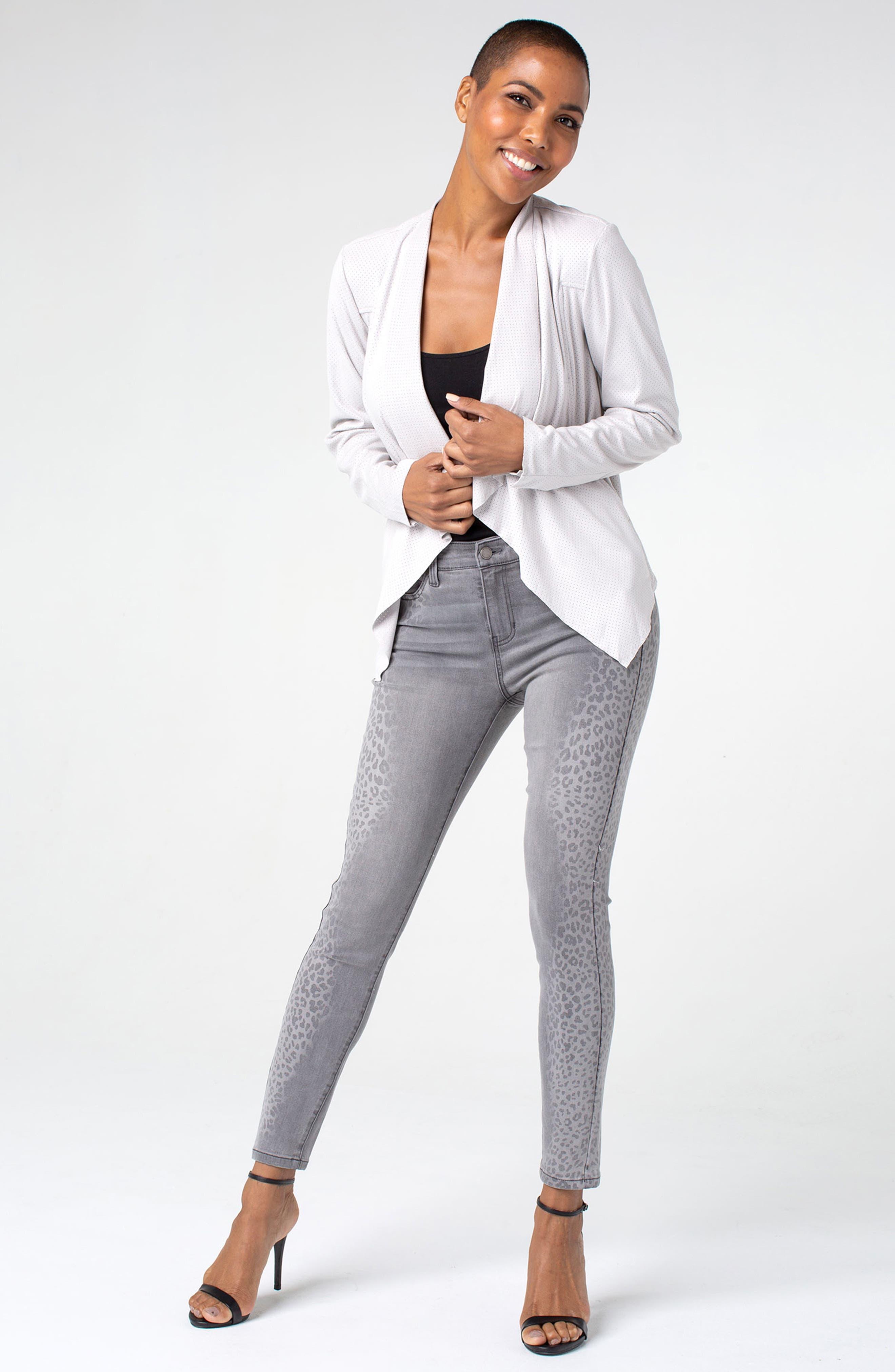 ,                             Abby Side Cheetah Print Ankle Skinny Jeans,                             Alternate thumbnail 5, color,                             ALUMINUM