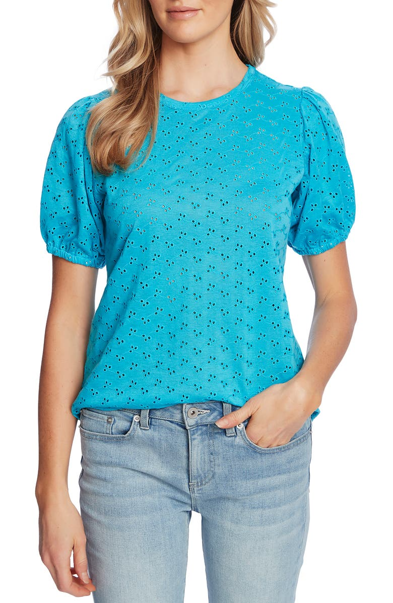 CECE Puff Sleeve Eyelet Top, Main, color, VENICE BLUE