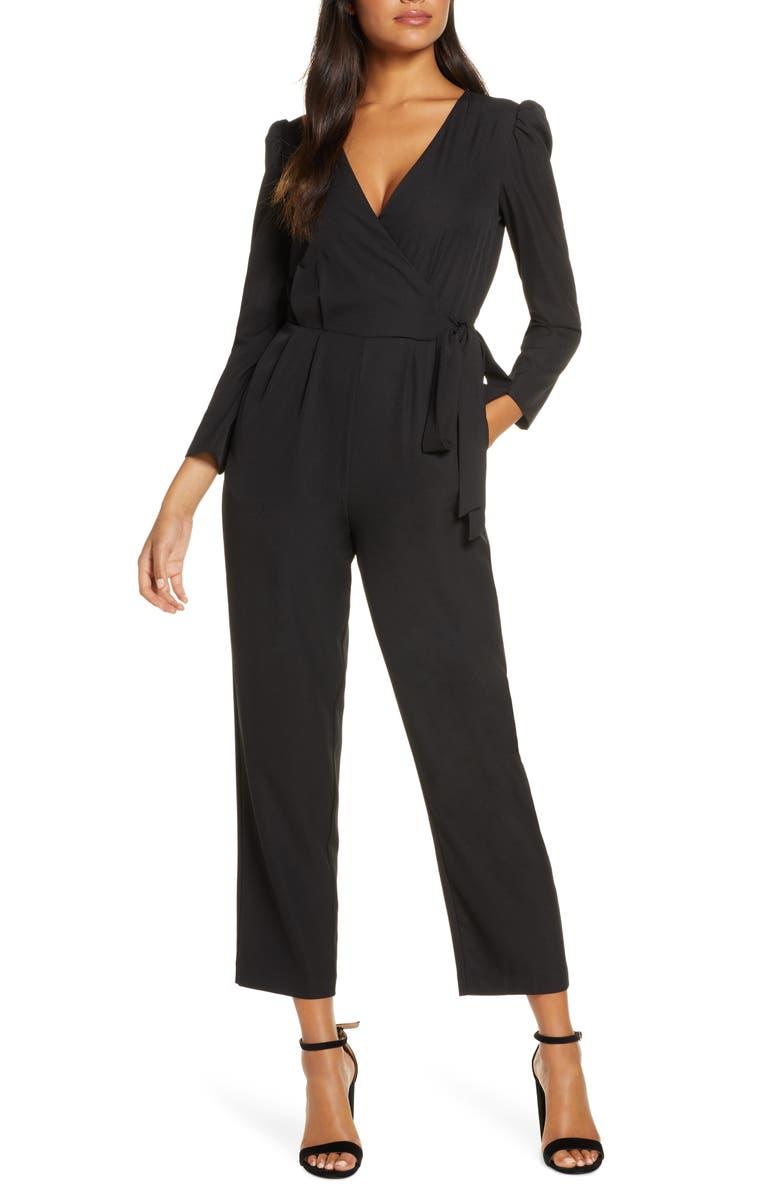 JULIA JORDAN Long Sleeve Wrap Front Jumpsuit, Main, color, BLACK