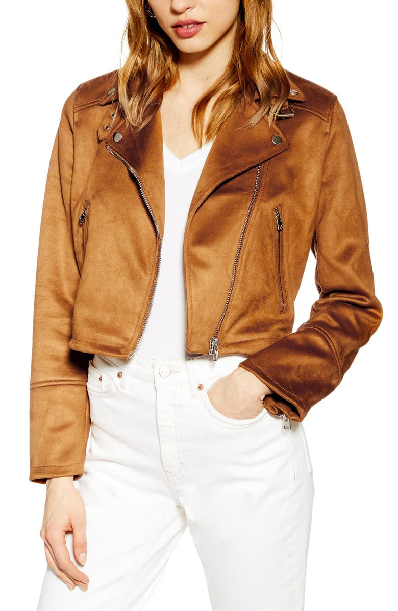 TOPSHOP George Faux Suede Biker Jacket, Main, color, 252