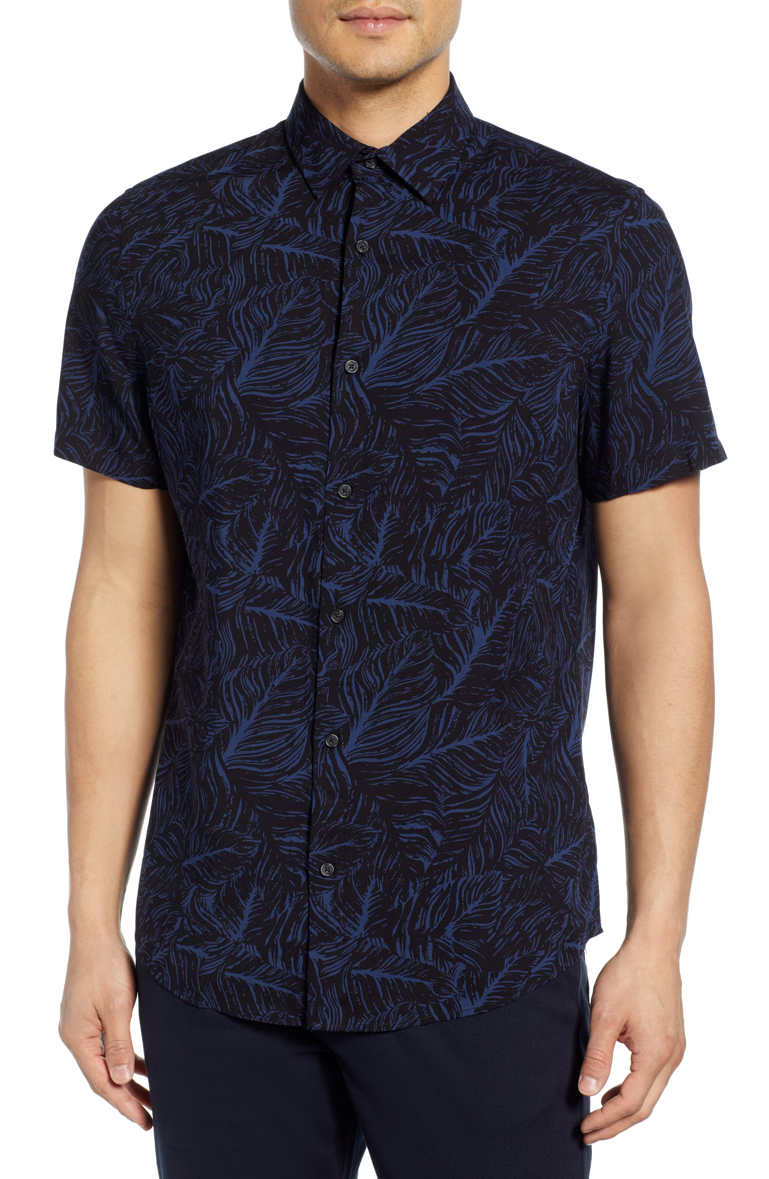 Calibrate Feather Print Sport Shirt, Black