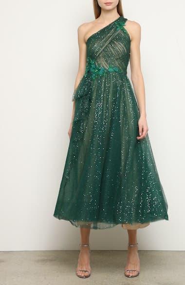 Glitter Tulle One-Shoulder Midi Dress, video thumbnail