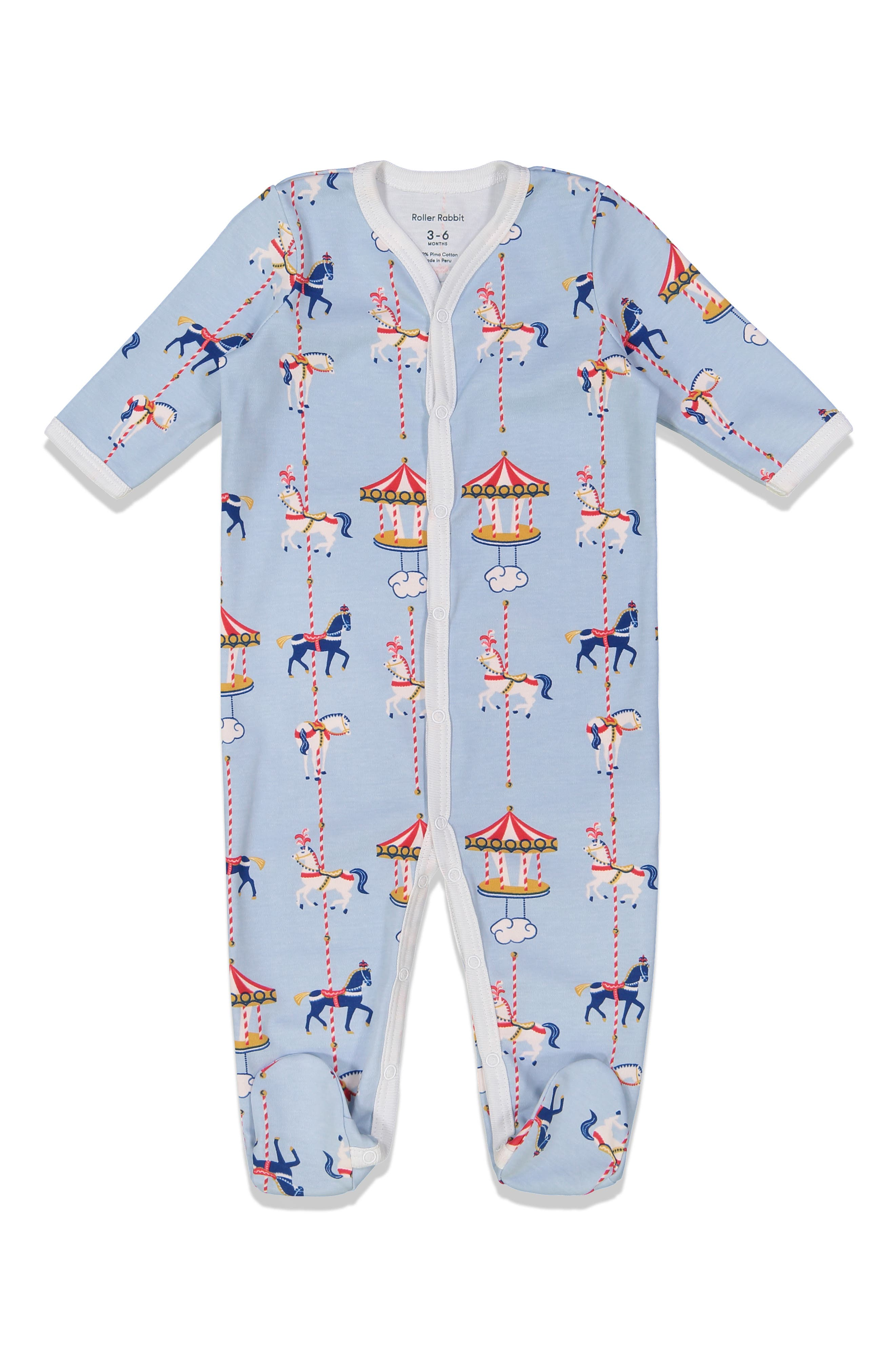 Infant Roller Rabbit Carousel Fitted One-Piece Footie Pajamas, Blue