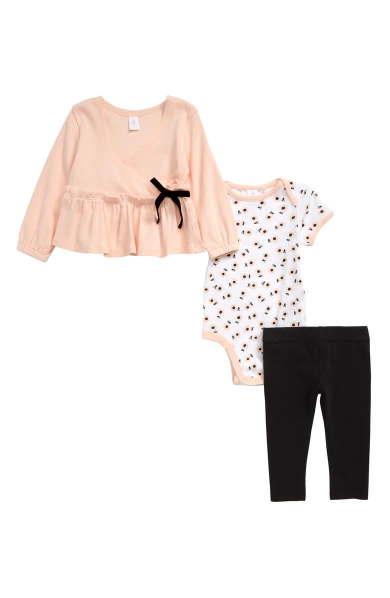 NORDSTROM Ballet Wrap Top, Bodysuit & Leggings Set, Main, color, PINK CLOUD DAISY TOSS