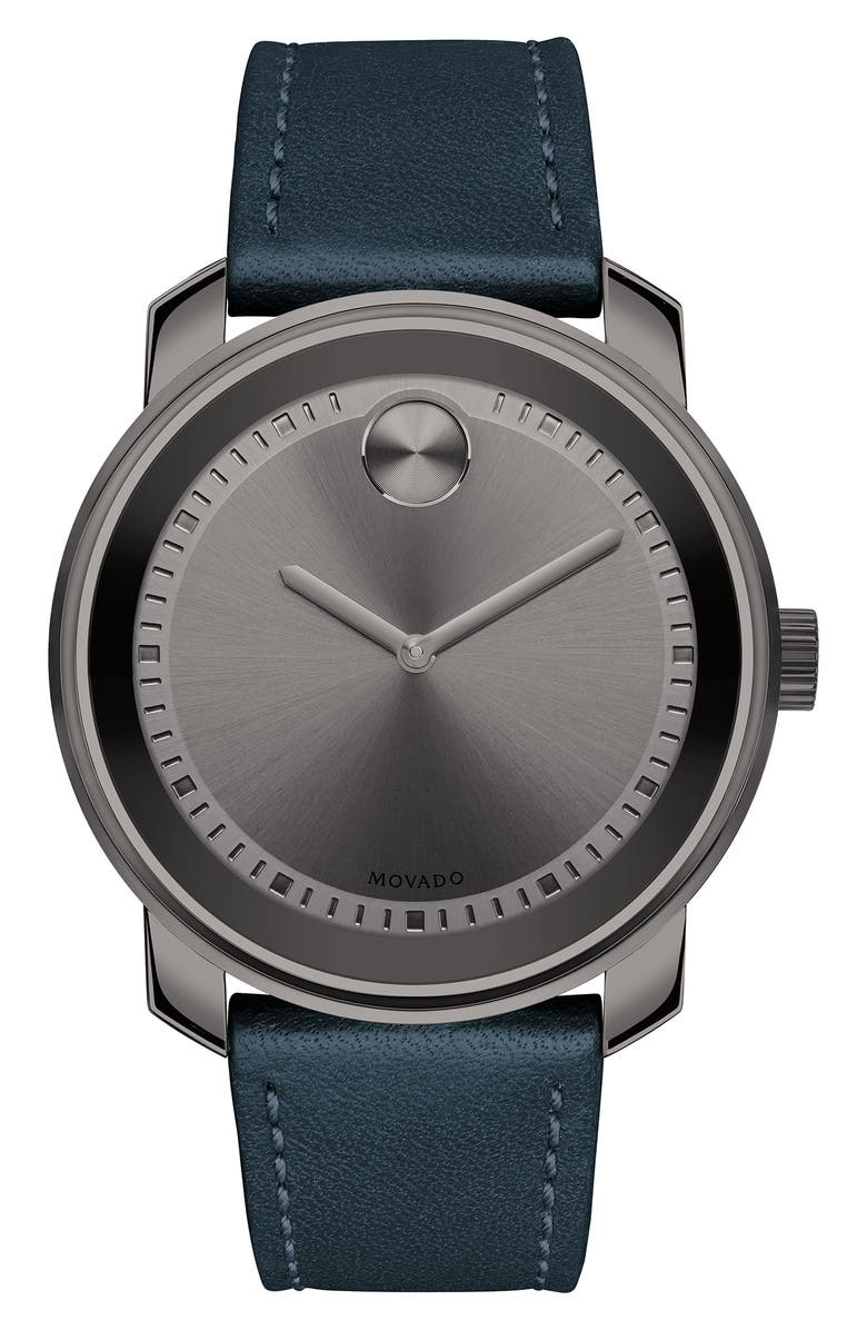 MOVADO Bold Leather Strap Watch, 42.5mm, Main, color, BLUE/ GUNMETAL
