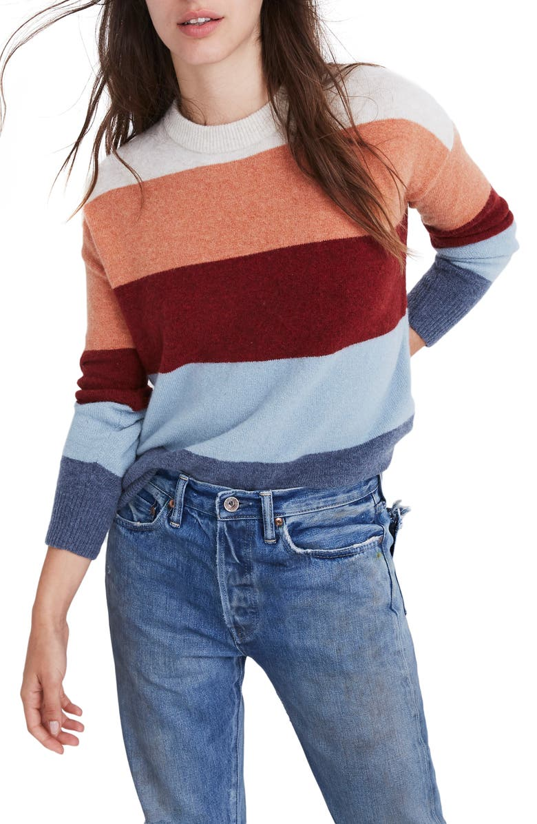 MADEWELL Crofton Stripe Pullover Sweater, Main, color, 020