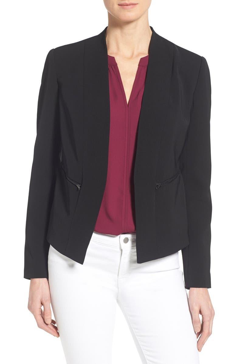 HALOGEN<SUP>®</SUP> Zip Pocket Open Jacket, Main, color, 001