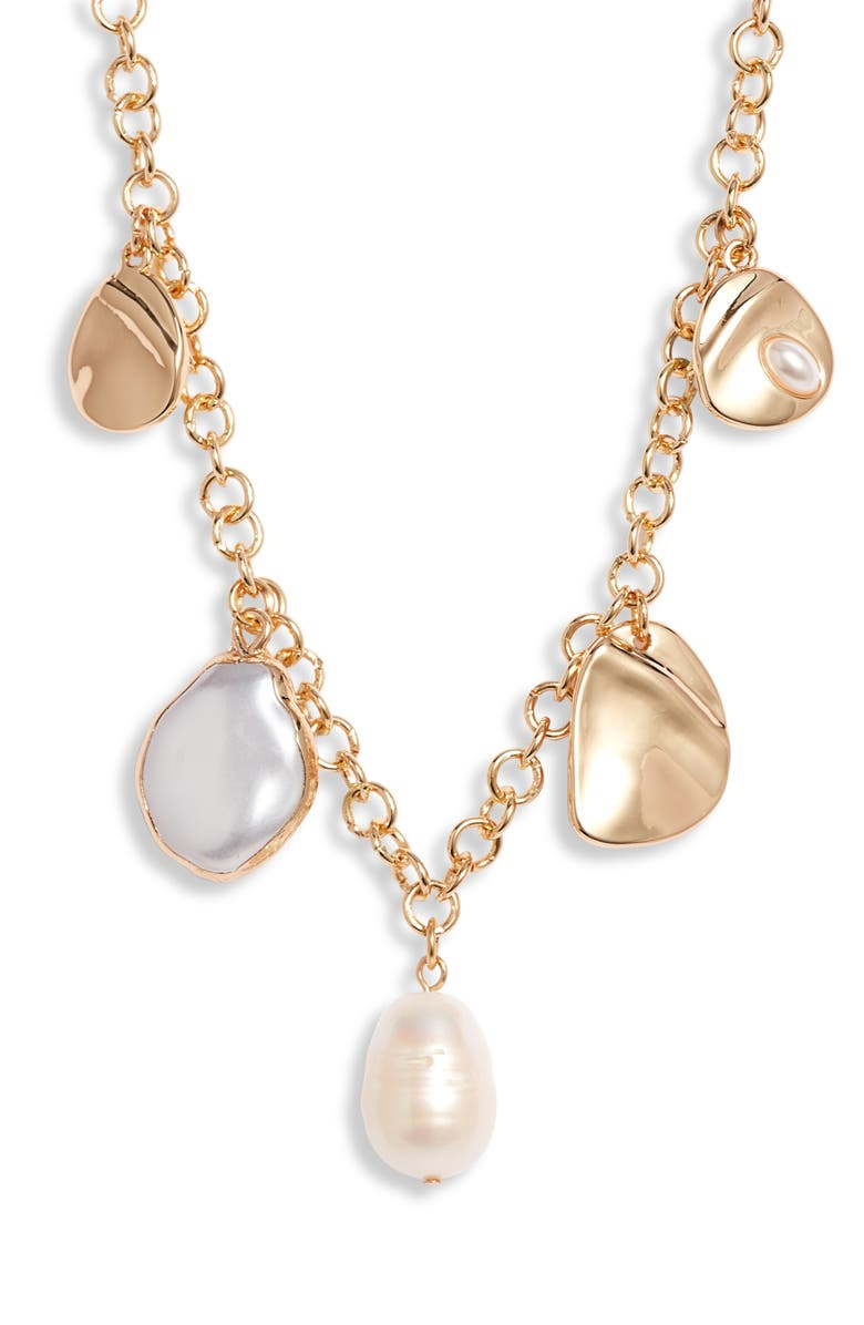 HALOGEN<SUP>®</SUP> Cable Chain Charm Necklace, Main, color, WHITE- GOLD