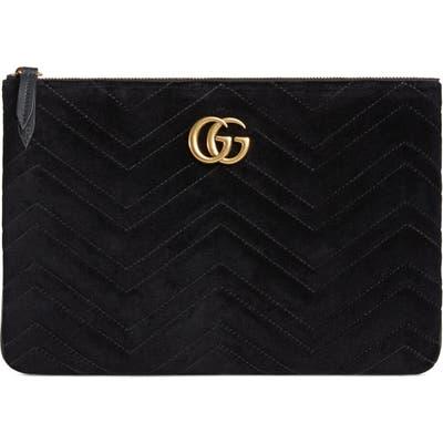 Gucci Gg Marmont 2.0 Matelasse Velvet Pouch - Black