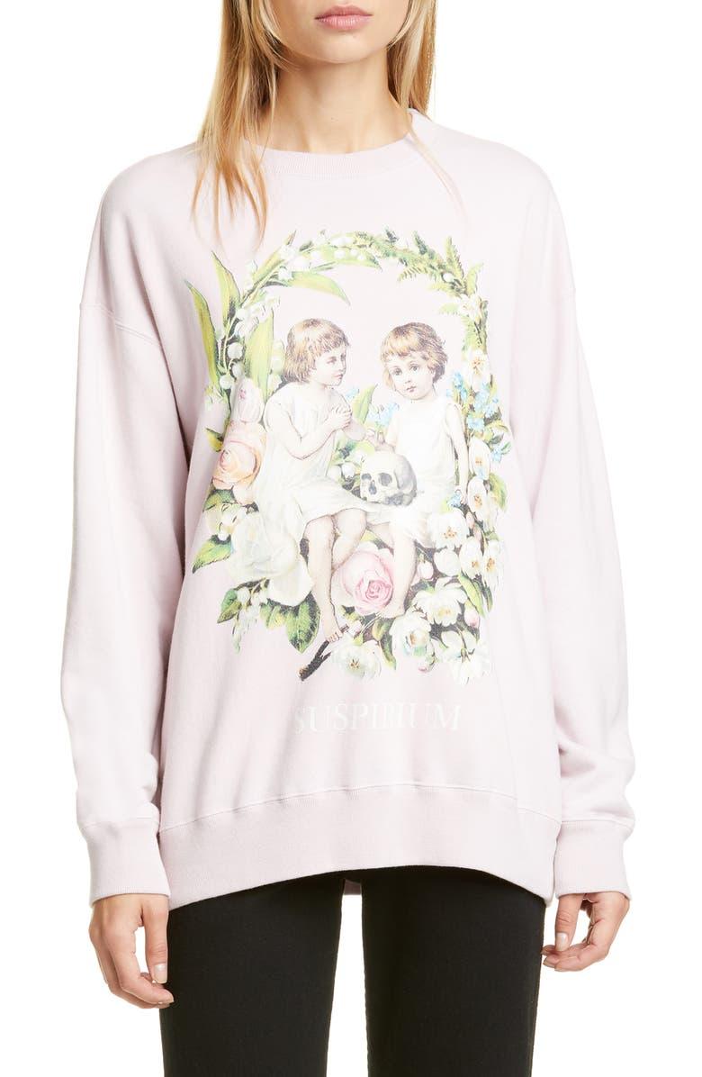UNDERCOVER Suspirium Graphic Crewneck Sweatshirt, Main, color, B PALE PINK