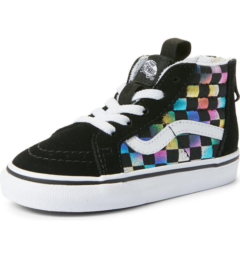 VANS SK8-Hi Zip Iridescent Check Sneaker, Main, color, BLACK/ TRUE WHITE