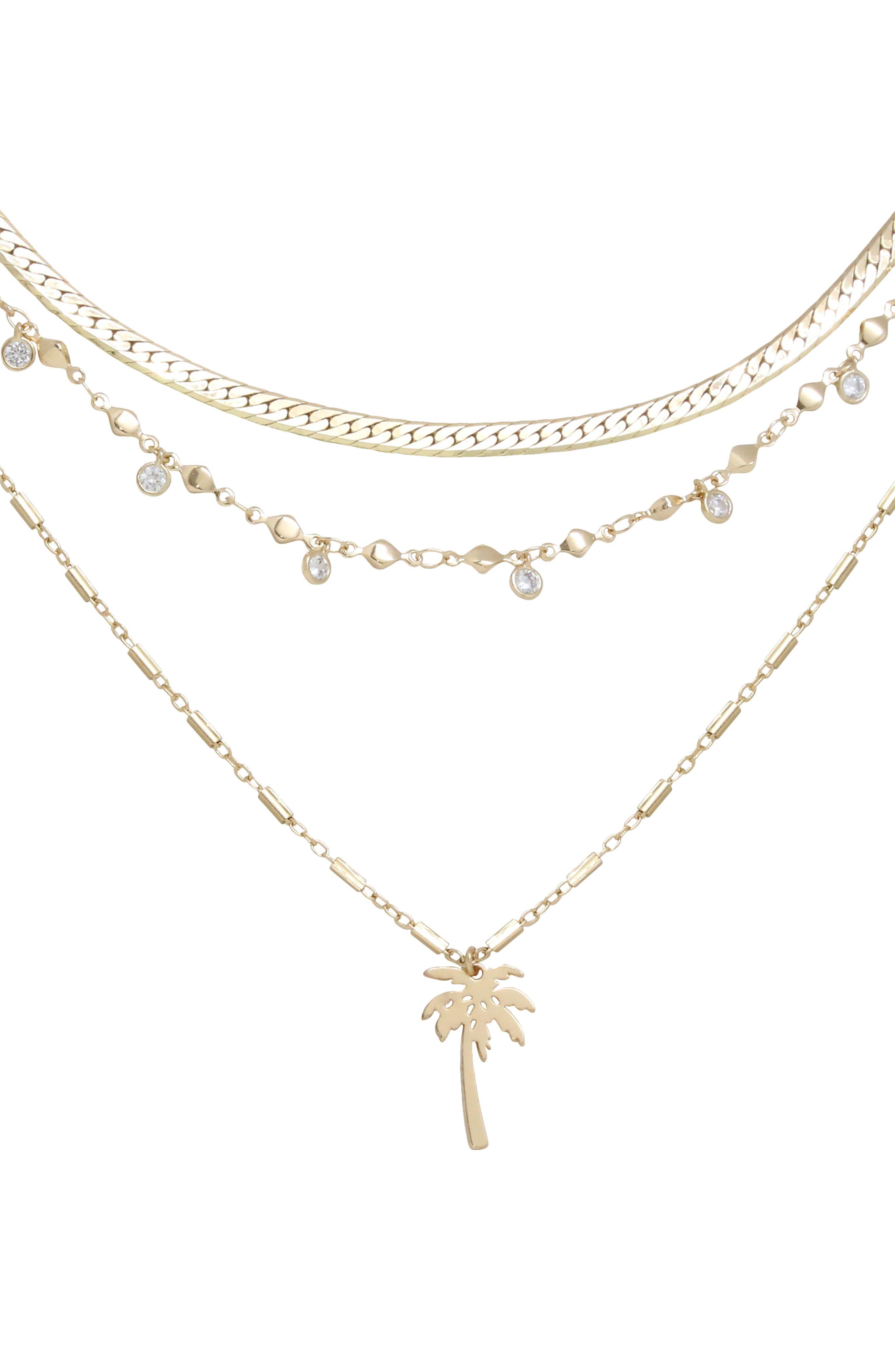 Palm Pendant Multistrand Necklace