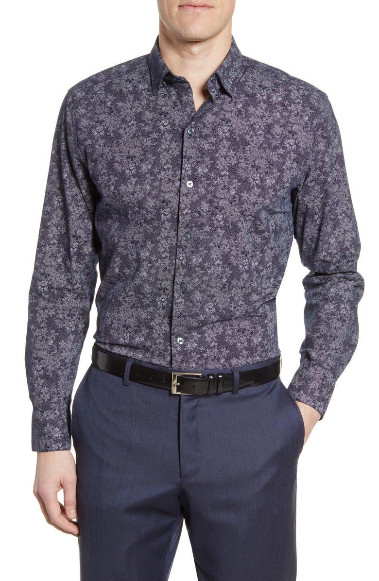 ROBERT BARAKETT Welpren Floral Button-Up Shirt, Main, color, 001