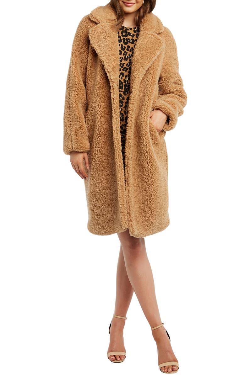 BARDOT Faux Fur Long Coat, Main, color, 250