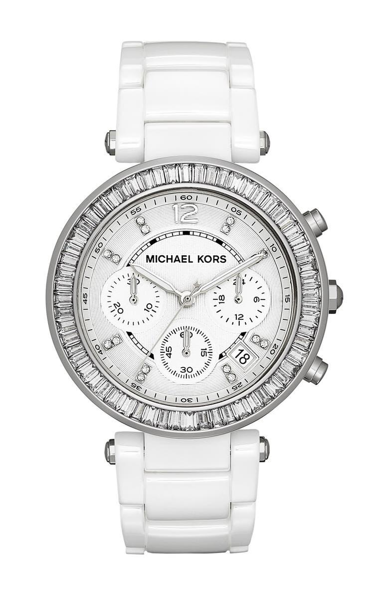 MICHAEL MICHAEL KORS Michael Kors 'Parker' Crystal Bezel Ceramic Watch, 39mm, Main, color, 100