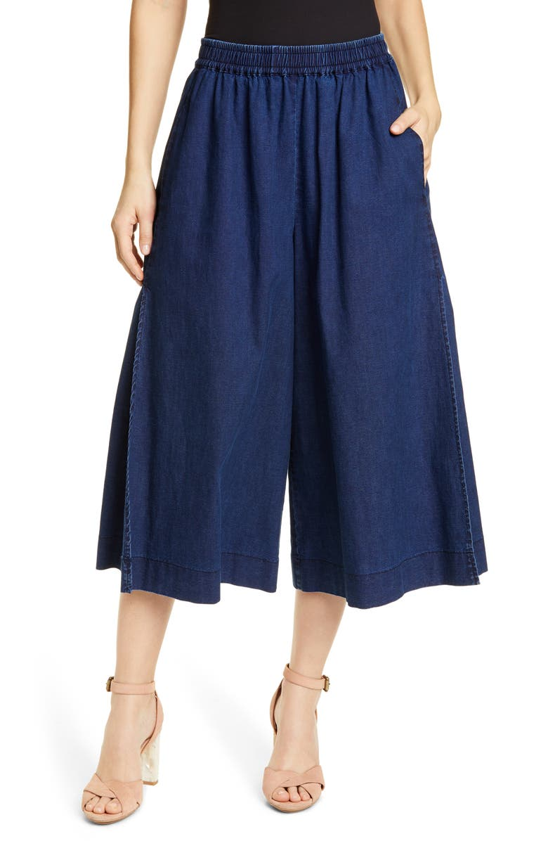 SEE BY CHLOÉ Side Slit Wide Leg Crop Pants, Main, color, STORMY NIGHT
