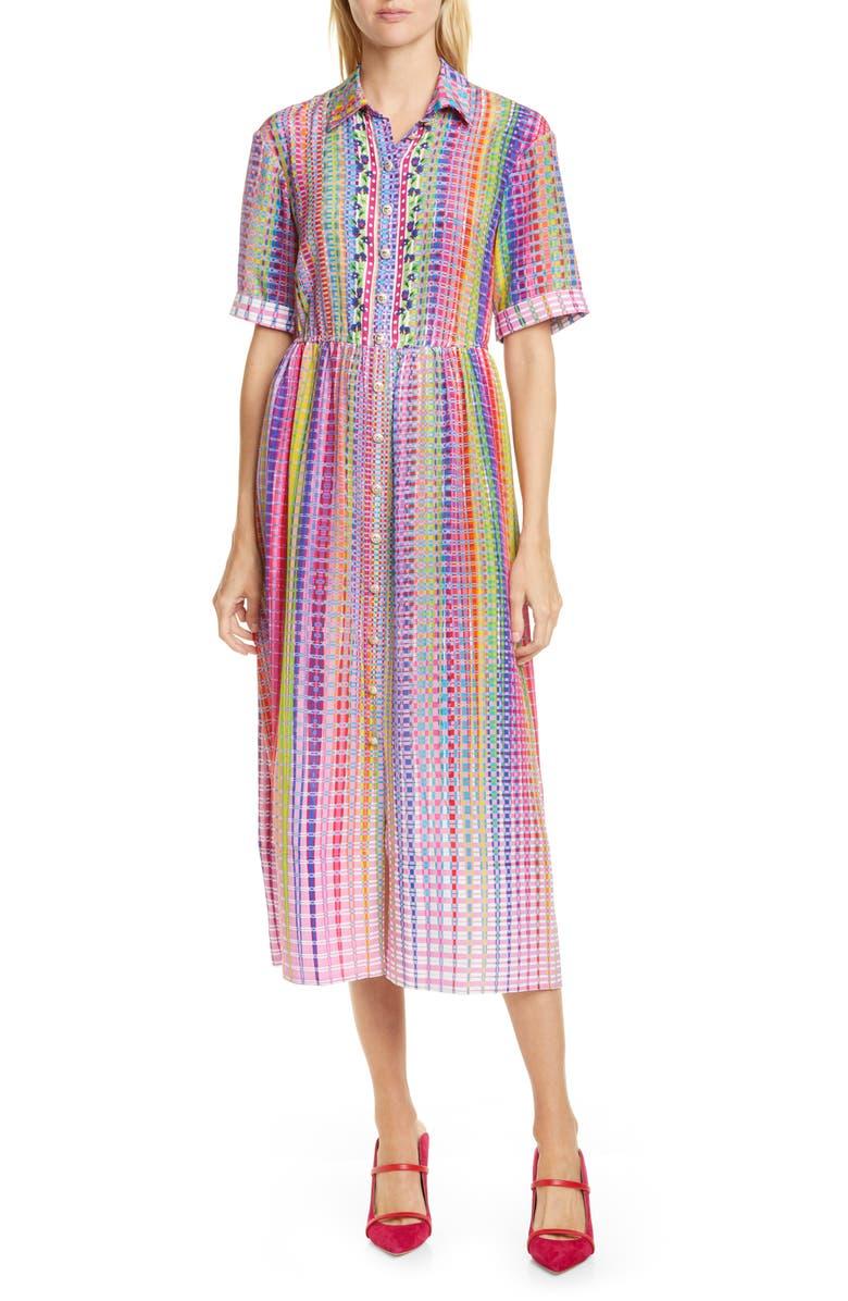 SALONI Ash Plaid Silk Midi Shirtdress, Main, color, RAINBOW CHECK PLMT