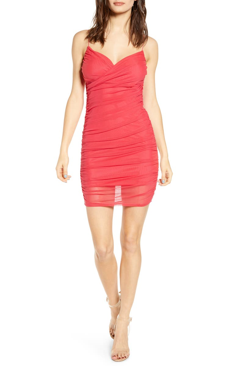 LEITH Crossover Front Ruched Minidress, Main, color, RED RASPBERRY