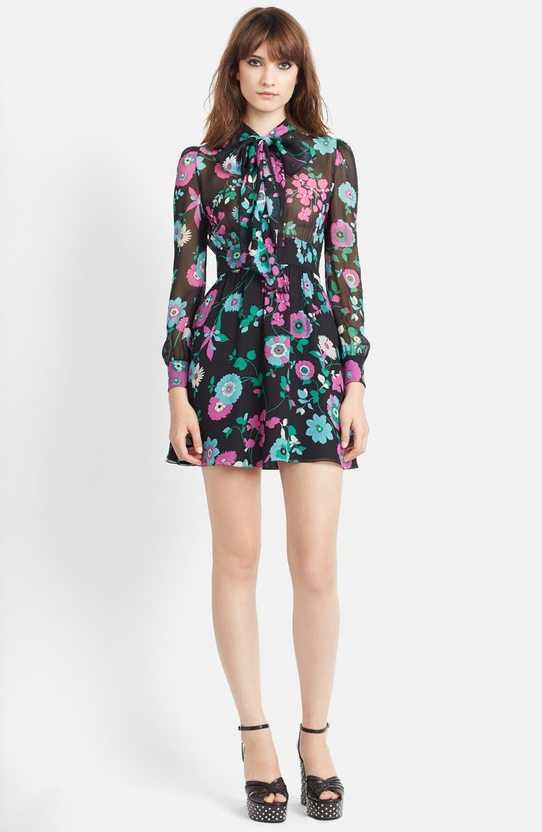 SAINT LAURENT Flower Print Silk Georgette Dress, Main, color, 002