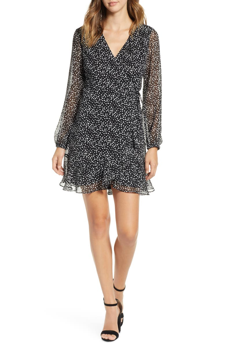 ALL IN FAVOR Brittany Wrap Minidress, Main, color, 001