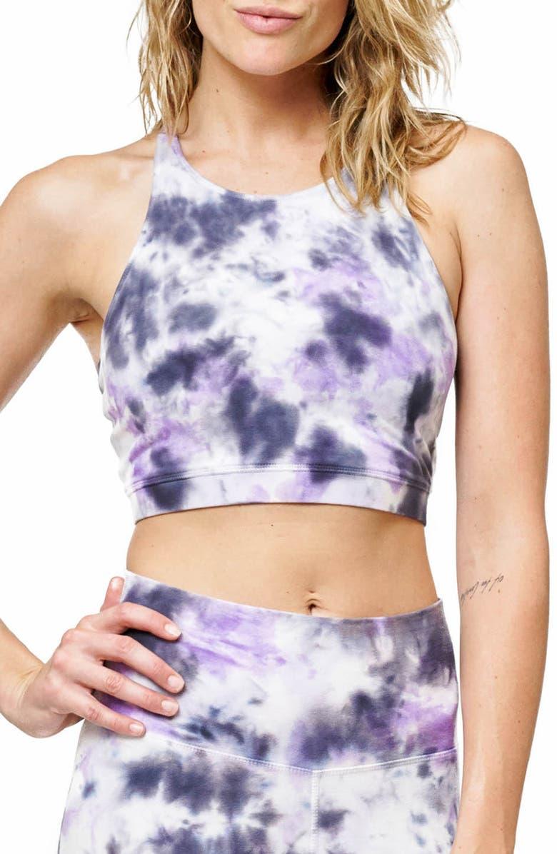 ELECTRIC & ROSE Grayson Tie Dye Crop Bra, Main, color, MONSOON WASH UV