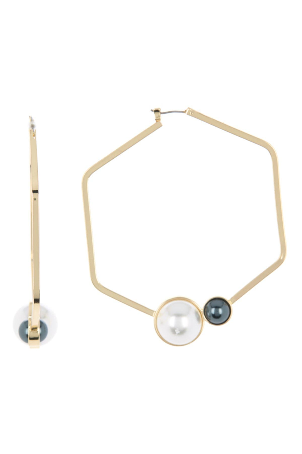 Image of Carolee Two-Tone Imitation Pearl Accent Hexagon Hoop Earrings