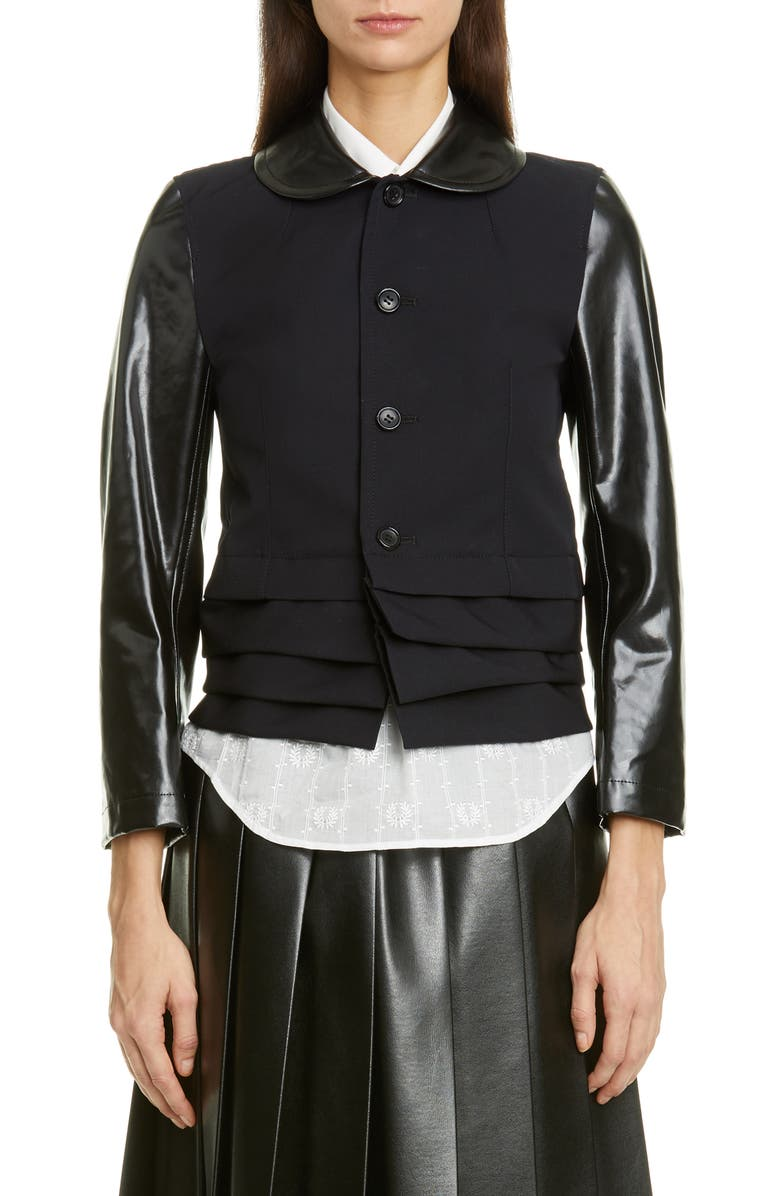 TRICOT COMME DES GARÇONS Laminated Contrast Layered Hem Crop Wool Jacket, Main, color, NAVY / BLACK