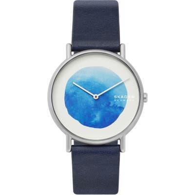 Skagen Signatur Watercolor Leather Strap Watch, 40Mm