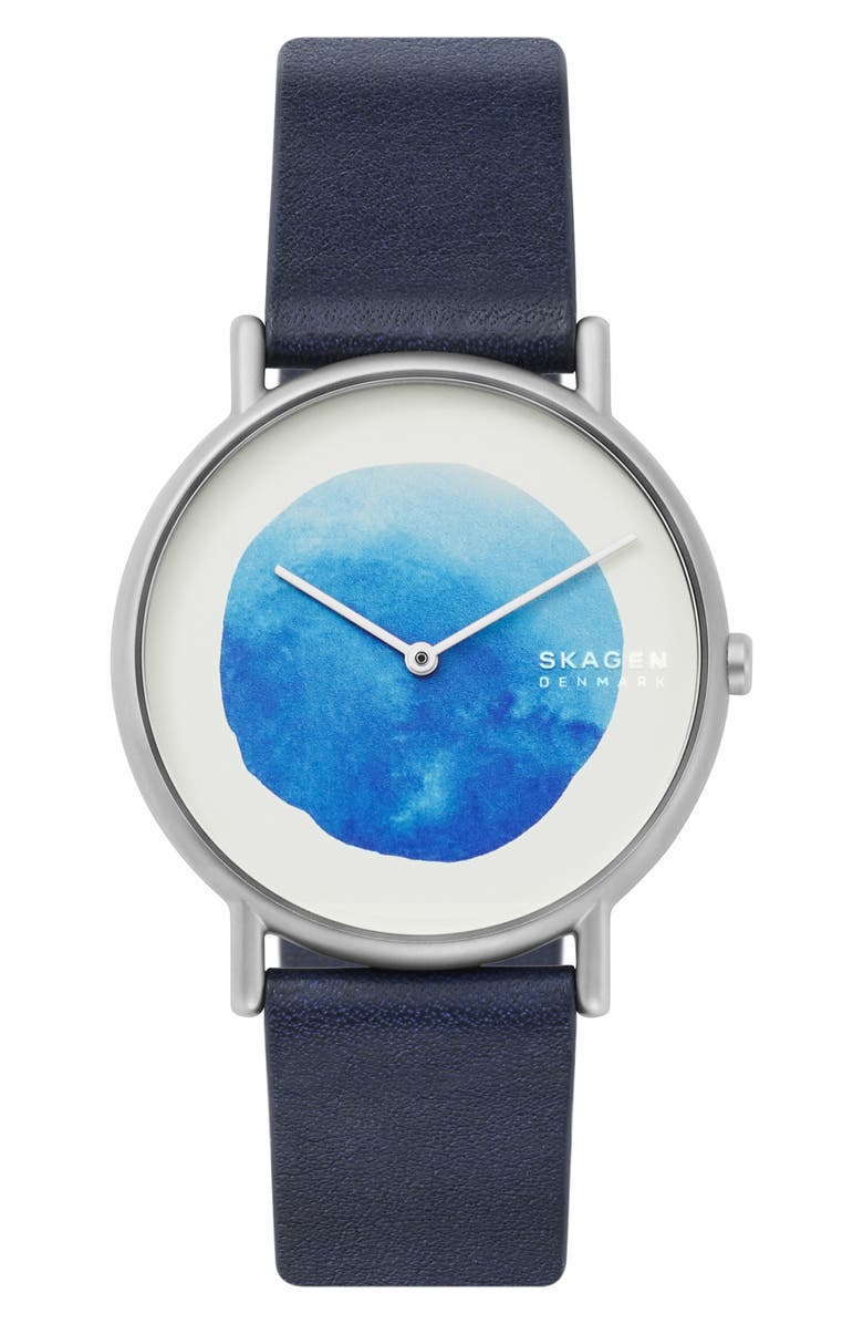 SKAGEN Signatur Watercolor Leather Strap Watch, 40mm, Main, color, 400