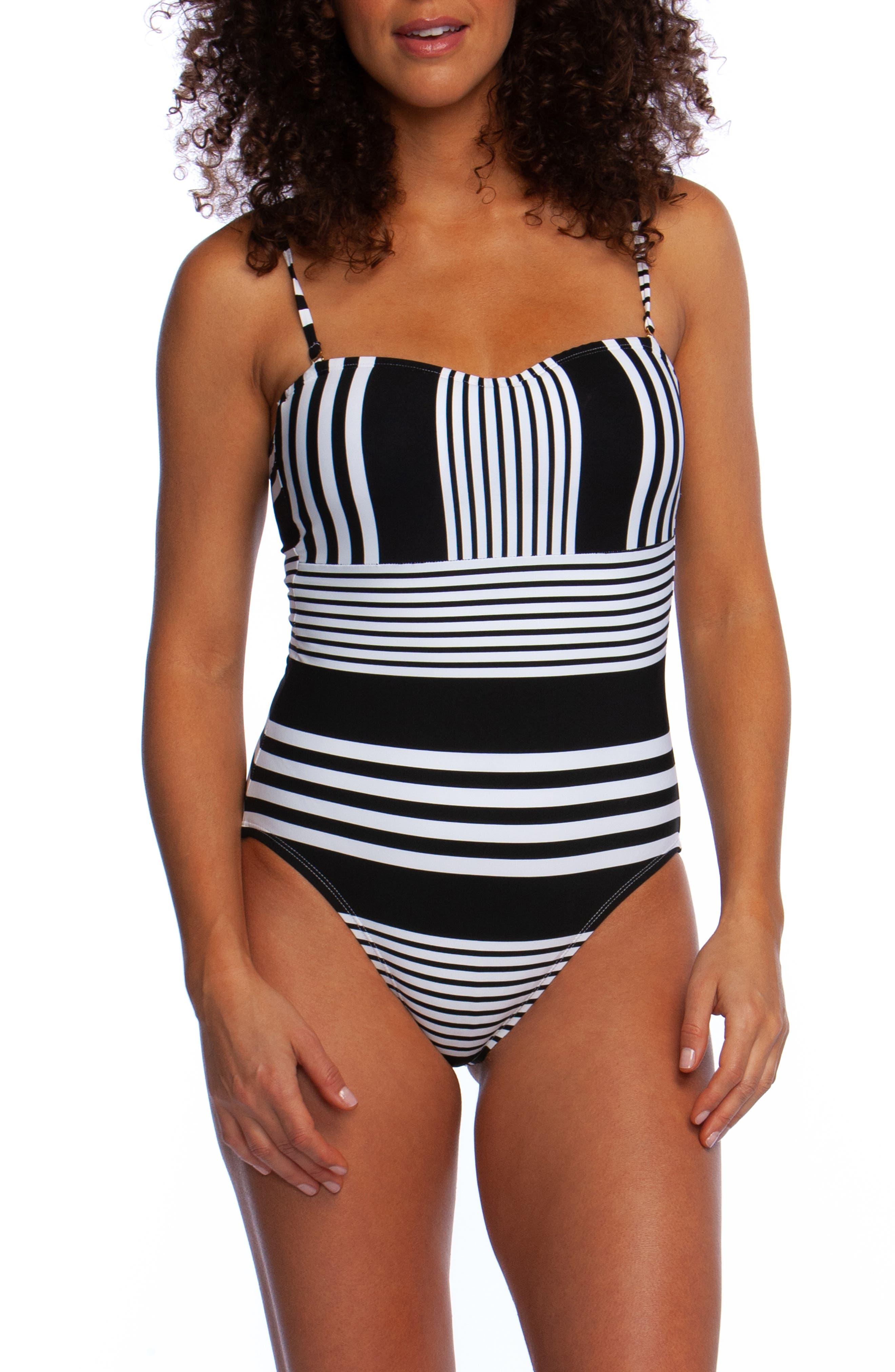 La Blanca Fine Line Bandeau One-Piece Swimsuit, Black