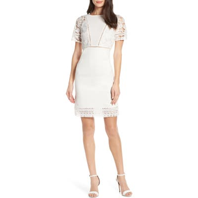 French Connection Viola Lula Jersey & Lace Dress, White