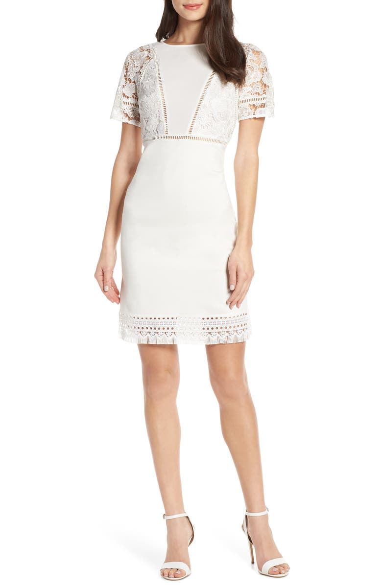 FRENCH CONNECTION Viola Lula Jersey & Lace Dress, Main, color, 104
